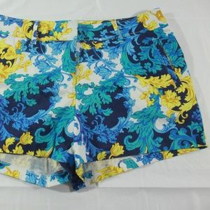 Womens Cache Blue Gold Patterned Shorts Size 12